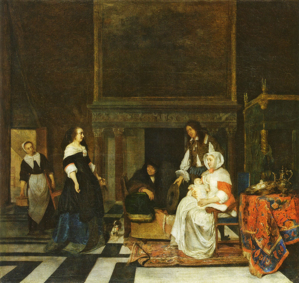 Gabriel Metsu - A Visit to the Nursery