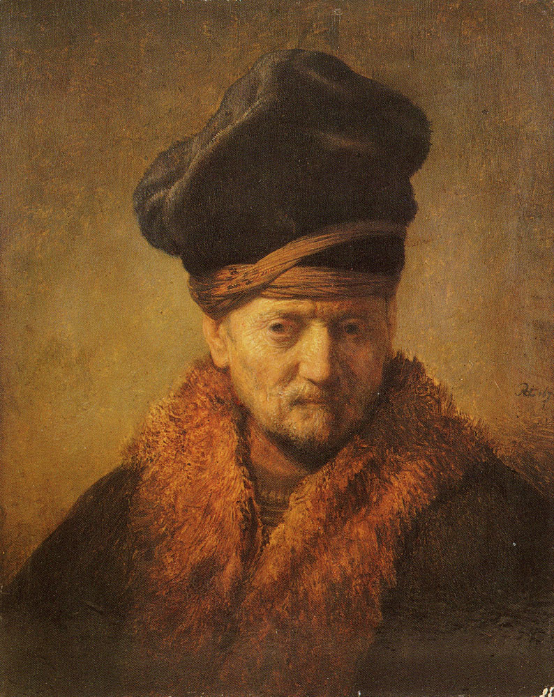 Rembrandt - Bust of an old man with fur cap