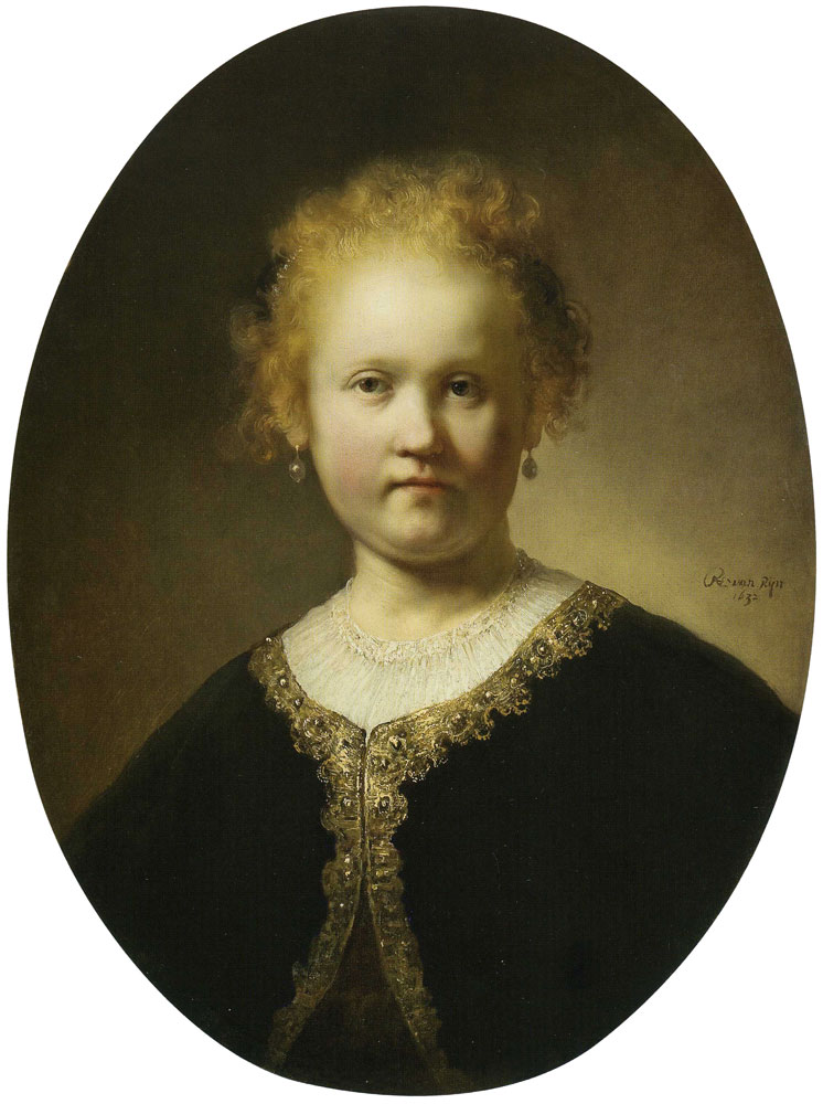 Rembrandt - Portrait of a Girl Wearing a Gold-trimmed Cloak