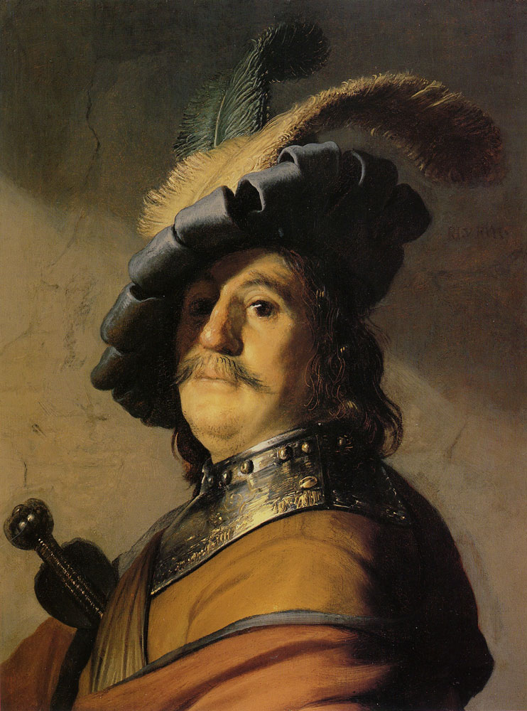 Rembrandt - Bust of a man in a gorget and cap