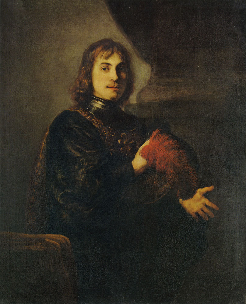 Style of Rembrandt - Portrait of a Man with a Breastplate and Plumed Hat
