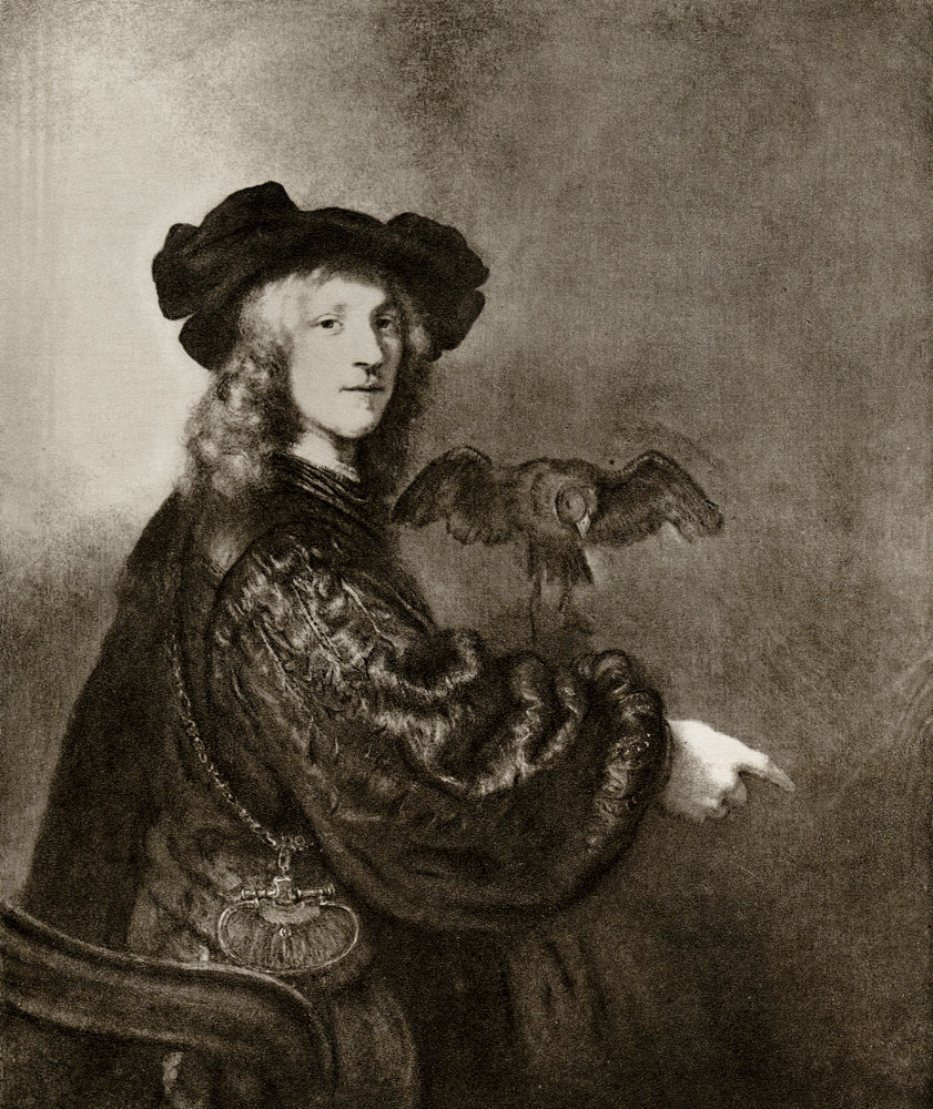 Rembrandt and workshop - Portrait of a man with a hawk