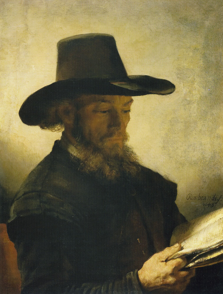 Rembrandt and workshop - Portrait of a Man Reading
