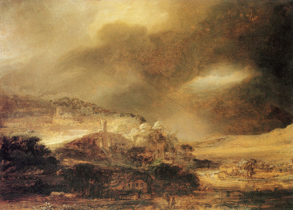 Rembrandt - Mountain landscape with a thunderstorm