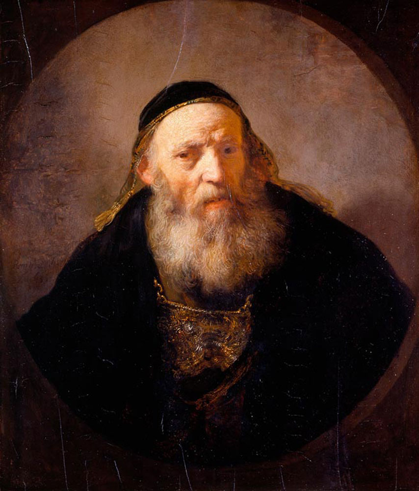 Rembrandt - Bust of a bearded old man in fanciful costume
