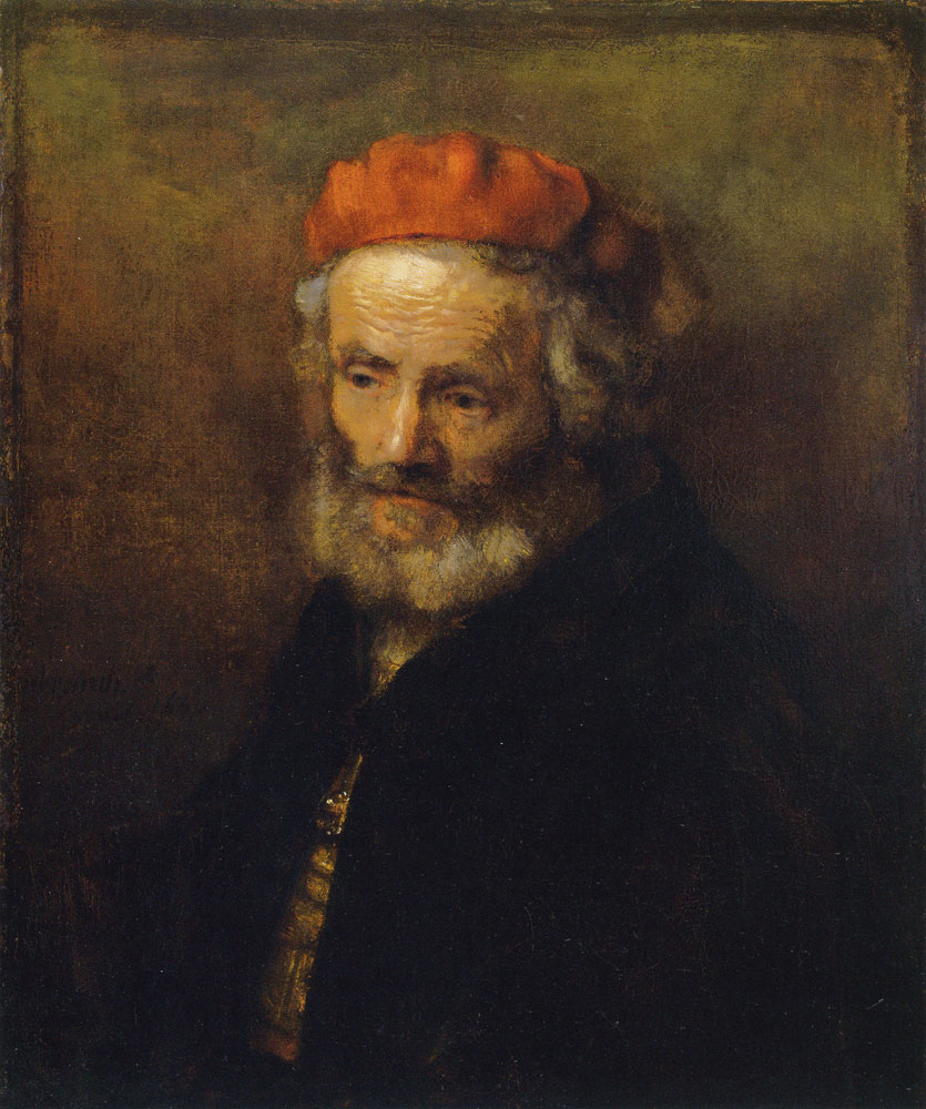 Circle of Rembrandt - Old Man Wearing a Red Hat