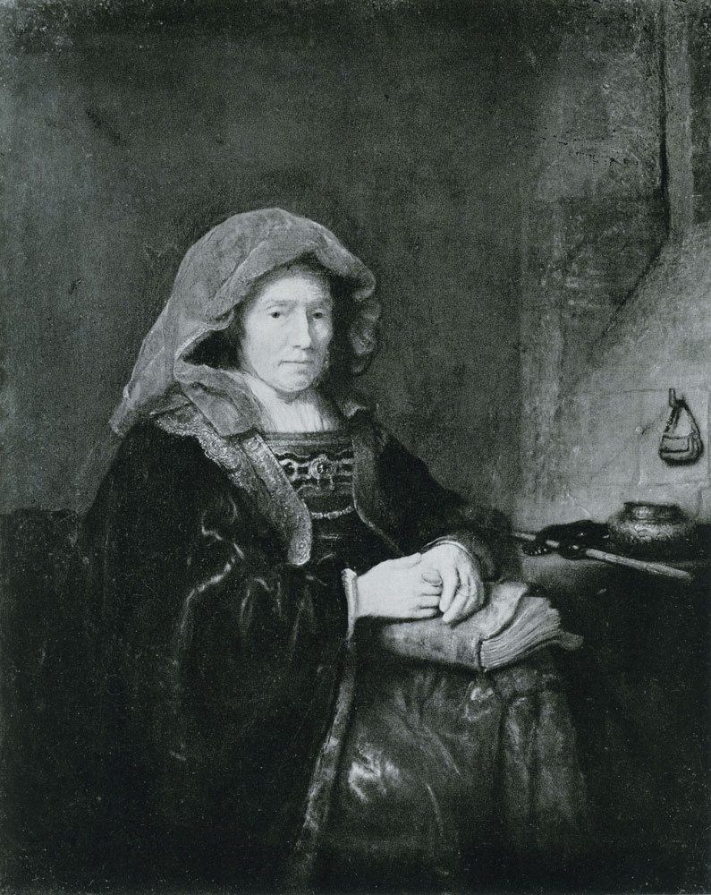 Formerly attributed to Rembrandt - An Old Woman in Fanciful Costume