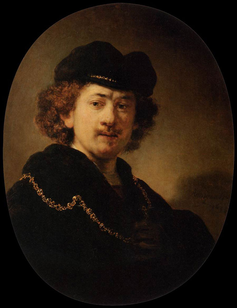 Rembrandt - Self-portrait with beret and gold chain