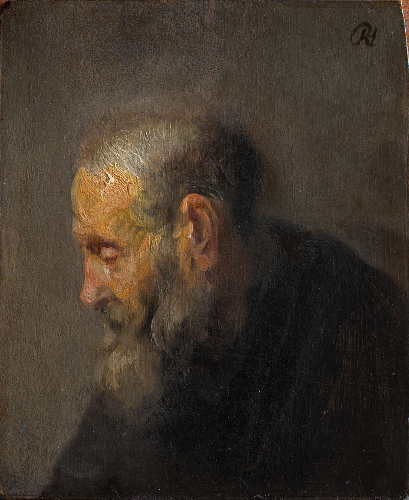 Rembrandt - Oil study of an old man