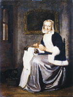 Gabriel Metsu A Lady Working Lace