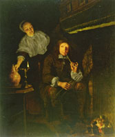 Gabriel Metsu A Man Smoking a Pipe at a Fireplace