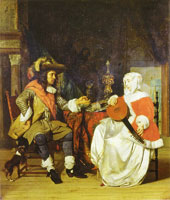 Gabriel Metsu A Man Offering a Glass of Wine to a Woman Tuning a Lute