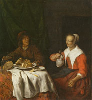 Gabriel Metsu A Man and a Woman Sharing a Meal