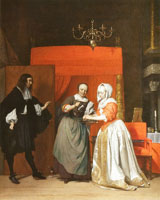Gabriel Metsu A Man Visiting a Woman Washing her Hands