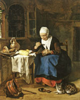Gabriel Metsu An Old Woman Eating Porridge