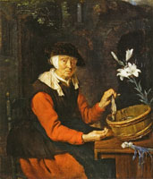 Gabriel Metsu An Old Woman Preparing Herrings