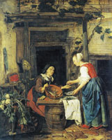 Gabriel Metsu An Old Woman Selling Fish and Vegetables