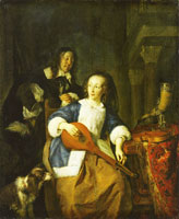 Gabriel Metsu A Woman Tuning her Cittern, Approached by a Man
