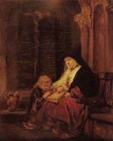 Rembrandt or pupil The prophetess Anna in the Temple