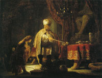 Rembrandt Daniel and Cyrus before the Idol Bel