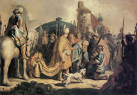 Rembrandt David, Presenting the Head of Goliath to King Saul