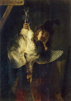Rembrandt A dead bittern held high by a hunter