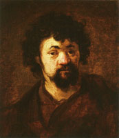Circle of Rembrandt Head of a Man with Curly Hair and Beard