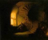 Rembrandt Interior with a window and a winding staircase