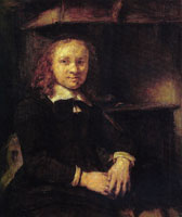 Rembrandt Portrait of Jan Boursse, sitting by a stove