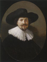 Rembrandt and mainly workshop - Portrait of a man in a broad-brimmed hat