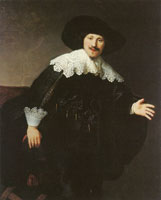 Rembrandt and (perhaps) workshop Portrait of a man rising from a chair