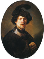 Studio of Rembrandt van Rijn Man Wearing a Plumed Beret and a Gorget