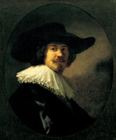 Rembrandt and/or workshop Portrait of a man in a slouch hat and bandoleer