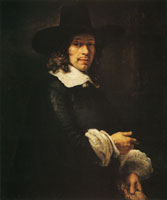 Rembrandt Portrait of a Gentleman with a Tall Hat and Gloves
