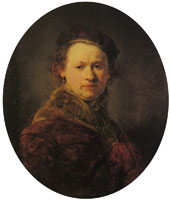 Rembrandt Self-portrait with beret and red cloak