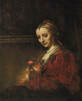 Rembrandt Woman with a Pink