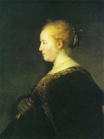 Rembrandt A Young Woman in Profile with a Fan