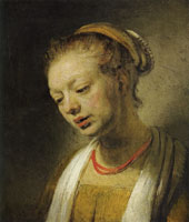 Style of Rembrandt Young Woman with a Red Necklace