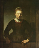 Attributed to Samuel van Hoogstraten Young Woman at an Open Half-Door