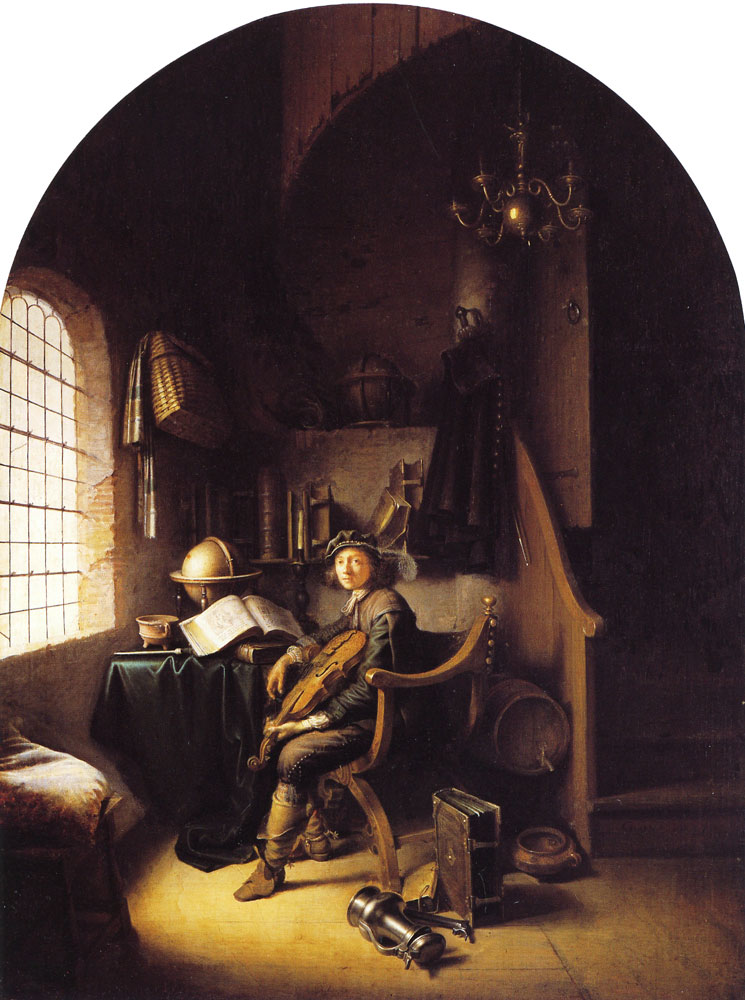 Gerard Dou - An Interior with Young Violinist