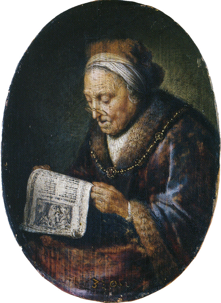 Gerard Dou - An Old Woman Reading a Pamphlet