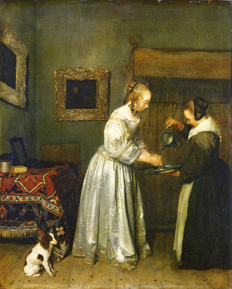 Gerard ter Borch - A Woman Washing her Hands