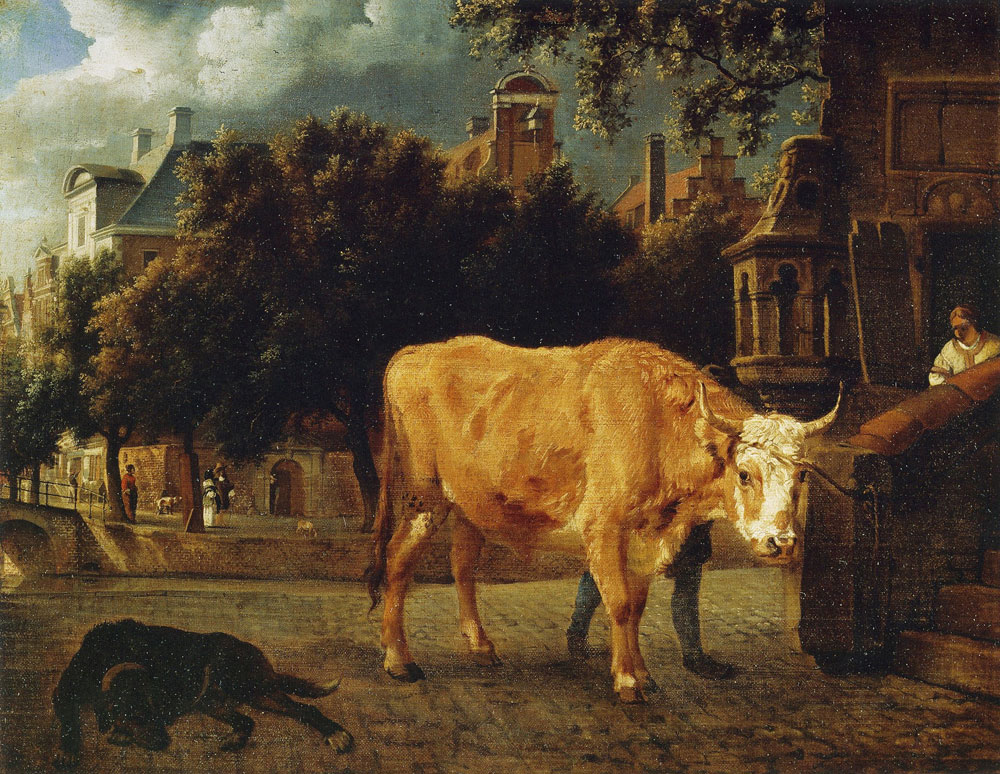 Jan van der Heyden and Adriaen van de Velde - Bull with the St. Elisabeth Gasthuis, Amsterdam