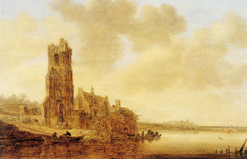 Jan van Goyen - River View with the Ruin of the Church of Warmond