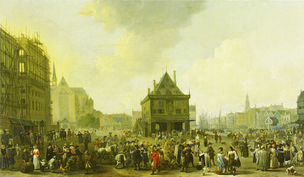 Johannes Lingelbach - View of Dam Square with the Amsterdam Town Hall under Construction