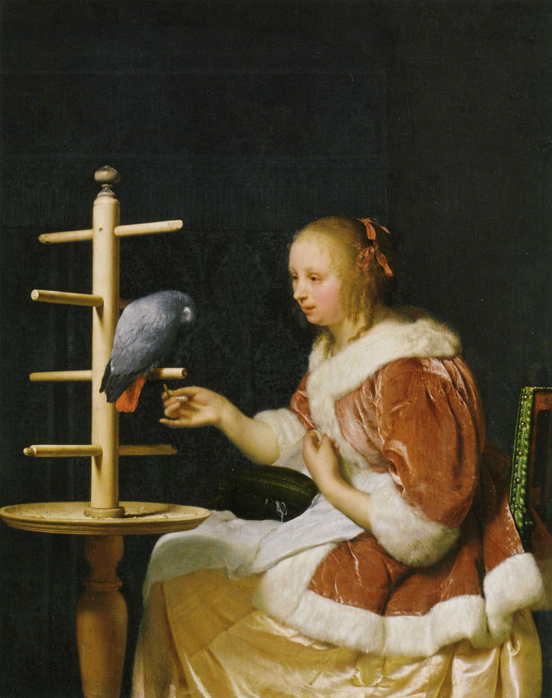 Frans van Mieris - A Woman with a Parrot
