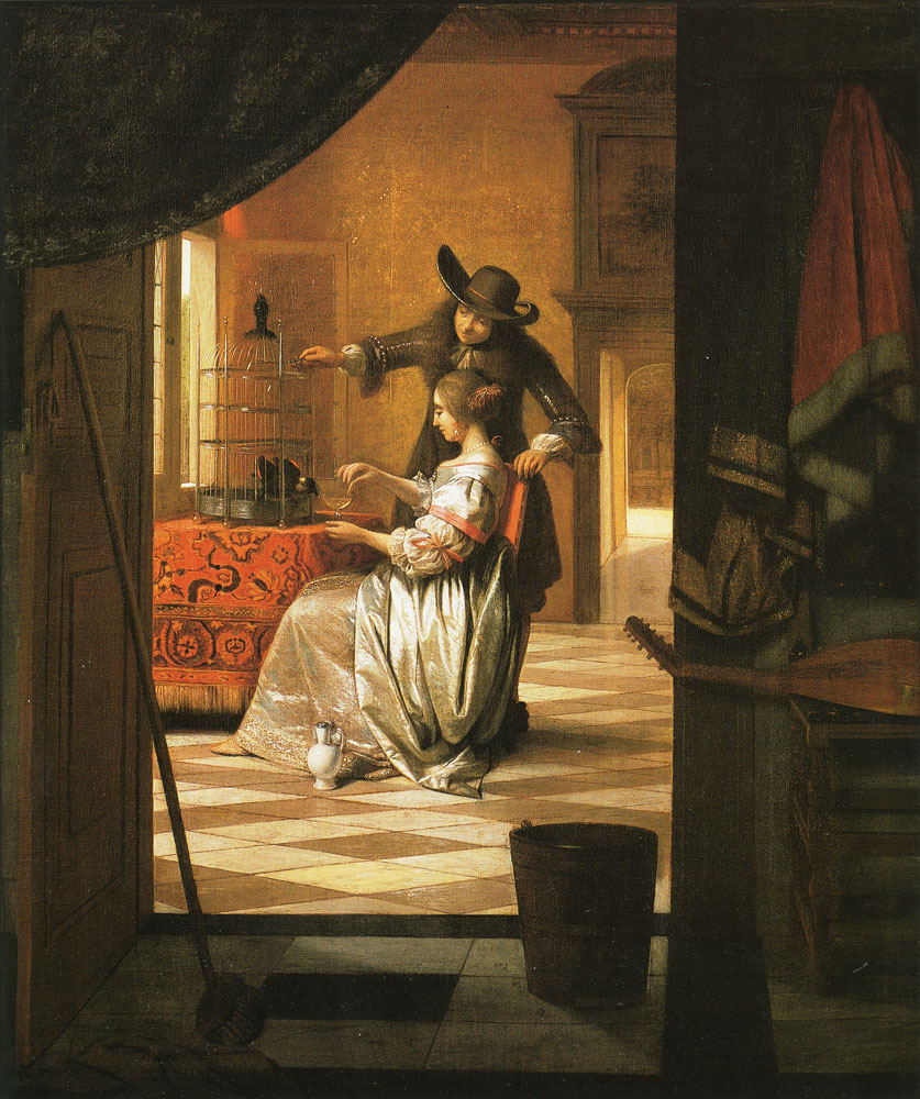 Pieter de Hooch - Couple with a Parrot