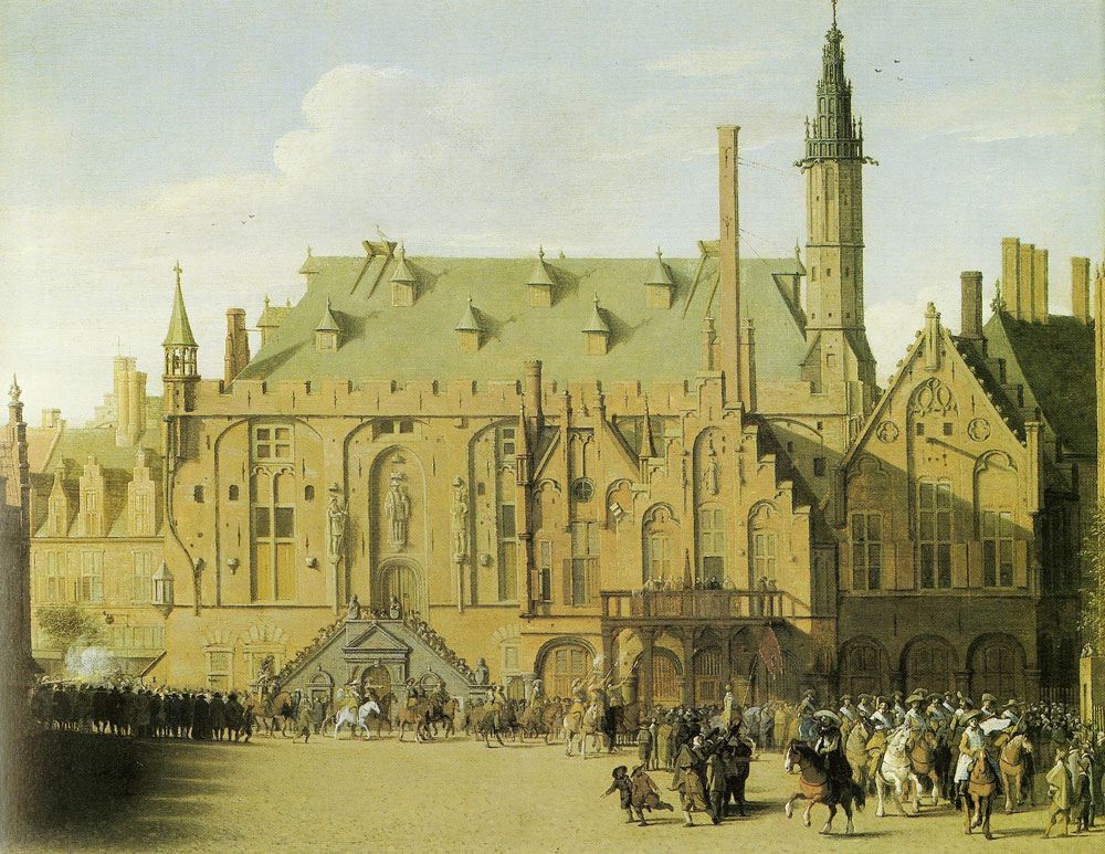 Pieter Saenredam - The town hall of Haarlem, with the entry of Prince Maurits to replace the town government, 1618