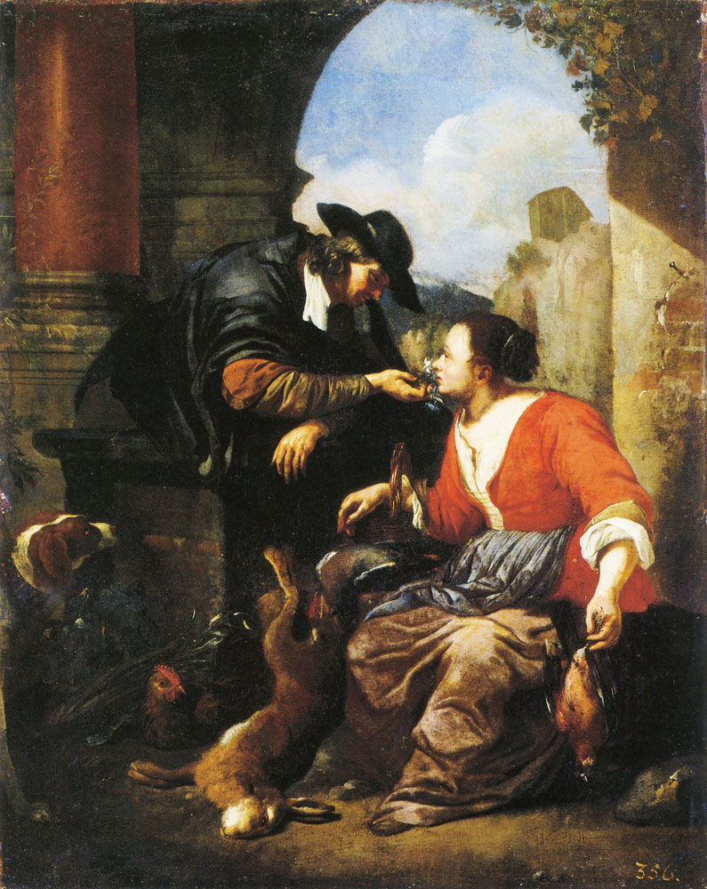 Jacob Toorenvliet - A Man Courting a Woman Selling Game