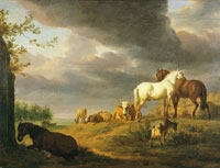 Adriaen van de Velde Landscape with horses and other livestock